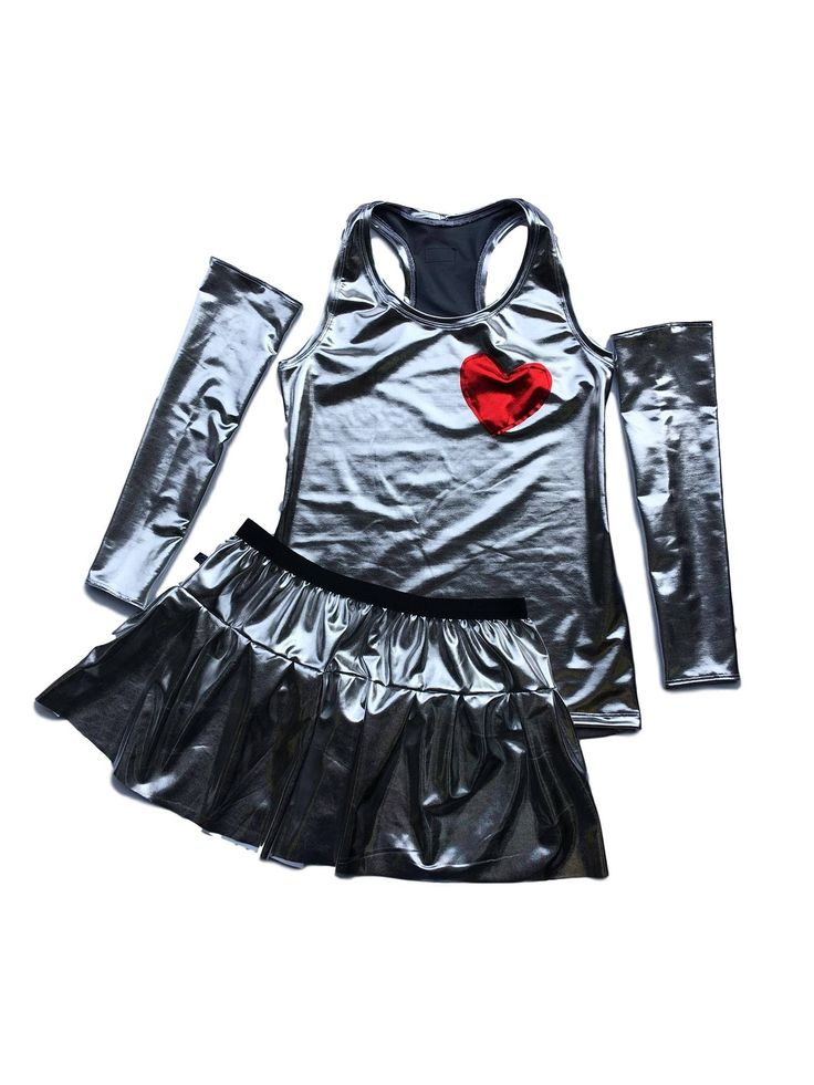 Tin Man running costume- Wizard of Oz silver costume metallic shirt and skirt *Optional Arm sleeves* by RockCitySkirts on Etsy