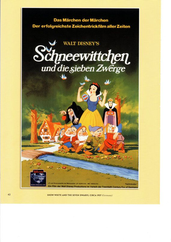 Vintage Disney Poster Print 1937 Snow White and the Seven