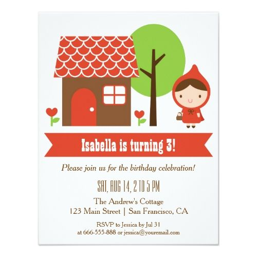 Fairy Birthday Party Little Red Riding Hood Birthday Party Invitations