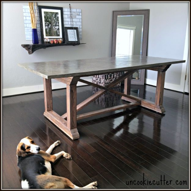 DIY Dining Room Table Projects - DIY Concrete Dining Table - Creative Do It Yourself Tables and Ideas You Can Make For Your Kitchen or Dining Area. Easy Step by Step Tutorials that Are Perfect For Those On A Budget http://diyjoy.com/diy-dining-room-table-projects