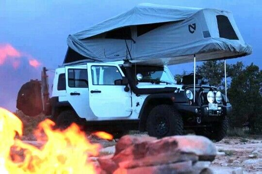 Jeep camping--hey, look what I can do now, although not sure if the sky slider would help or hinder this rig:)