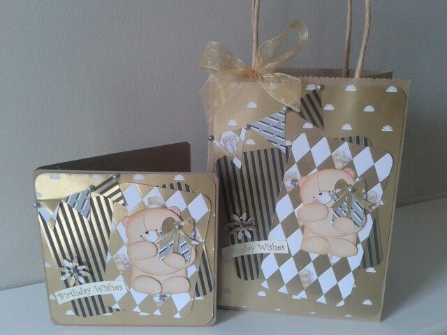 Forever Friends Birthday Card and matching Gift Bag using classic decadence papers
