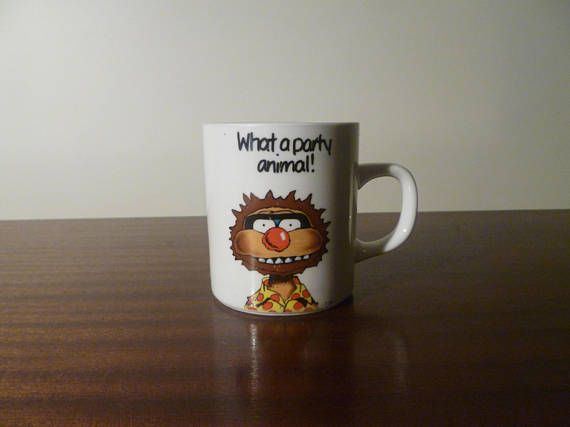 "$12  Vintage 1990s AGRO ""What A Party Animal"" Coffee Mug / Hungry Jacks Tea Cup / Retro Collectible Cartoon Connection TV Show Mug"