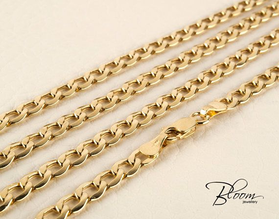Curb Gold Chain 14K Mens Gold Necklace Chain Solid Gold Curb Chain for Men Gold Chain Men Gold Necklace Chain 14K Gold Necklace