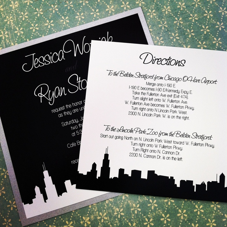 funny wedding invitation mail%0A Modern Silhouette Skyline Wedding Invitation Suite    The Stoneberg