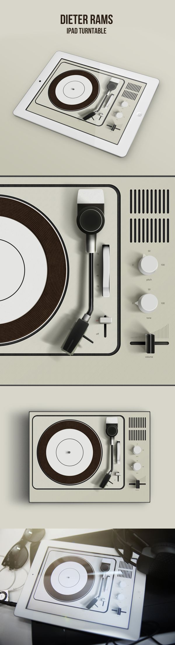 Dieter Rams Ipad Turntable by Denis Shepovalov, via Behance
