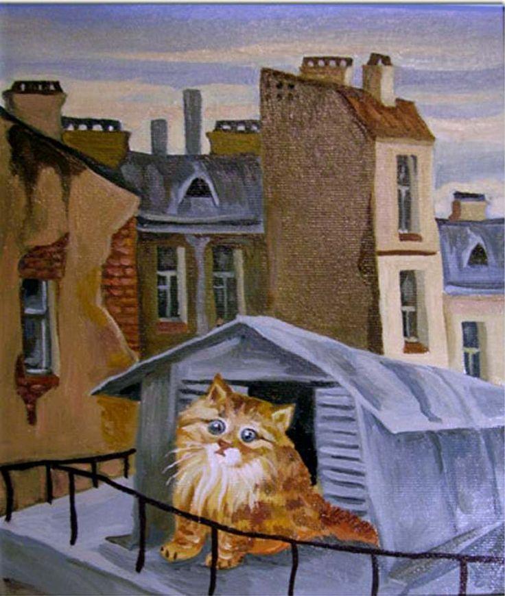 Кошки на крыше картинки рисунок, открытки