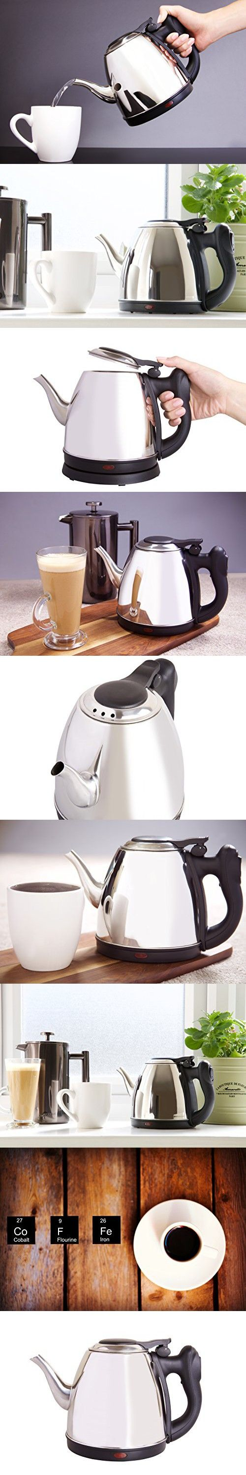 Best Small 4-Cup Stainless Steel Goose-neck Style Electric Tea Kettle with Precise Pouring. Great for Small Spaces, Quickly Boils Water for French Press Coffee Pot. 32oz, Cordless with Auto Shut Off.