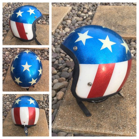 VINTAGE 1970s Red White & Blue Motorcycle HELMET  by bamapana