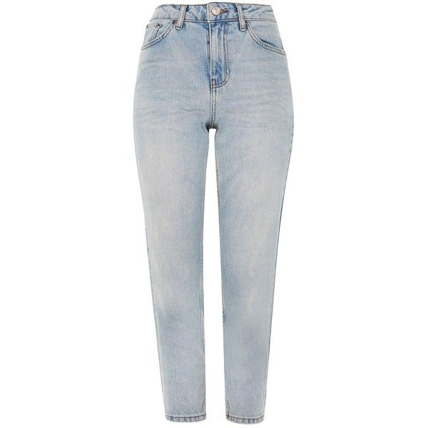 Topshop Petite Bleach Denim Mom Jeans ($52) ❤ liked on Polyvore featuring jeans, bleach denim, petite jeans, high waisted jeans, tapered leg jeans, folded jeans and cuffed jeans