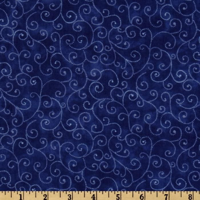 Designed for Moda Fabrics, this classic blender cotton print features white swirls on a royal blue marbled background.