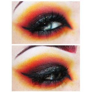fire makeup, fire eyes