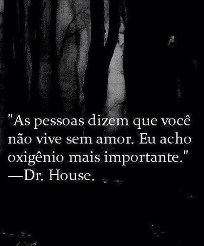 As pessoas dizem que você não vive sem amor.  Eu acho oxigênio mais importante. Dr. House