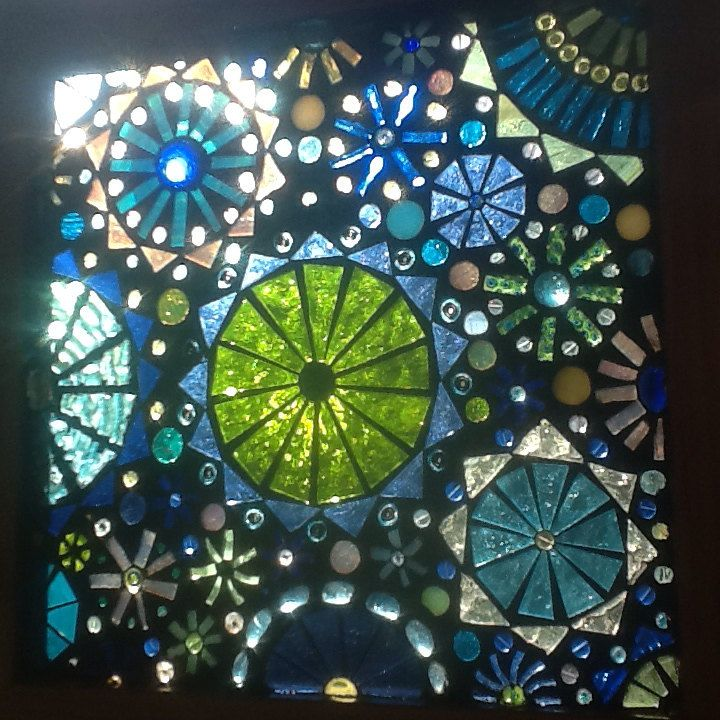 Glass on glass mosaic window panel blue and by lowlightcreations, $125.00
