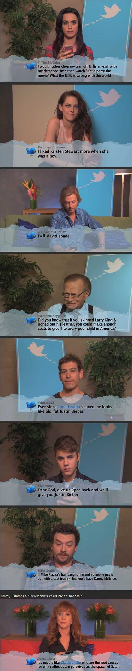 Celebrities read mean tweets to them. Hahahhaaa omg hahah Kristin Stewert has the same look on her face!!