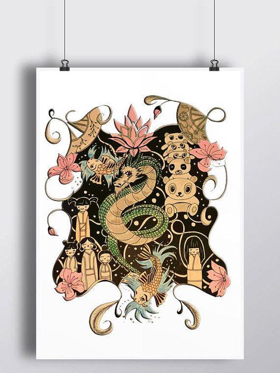 Japanese tattoo -Hey, ho trovato questa fantastica inserzione di Etsy su https://www.etsy.com/it/listing/467503588/drago-giapponese-illustrazione