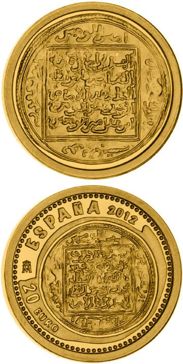 N♡T.20 euro: 800th Anniversary of the Battle of Las Navas de Tolosa.Country:	Spain Mintage year:	2012 Issue date:	June 2012 Face value:	20 euro Diameter:	13.92 mm Weight:	1.24 g Alloy:	Gold Quality:	Proof Mintage:	12,000 pc proof Issue price:	85 euro