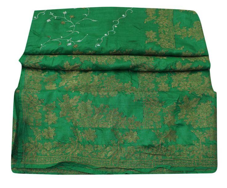 Vintage Indian Sari Pure Silk Embroidered Fabric Craft Sarong Green Sari 5YD #Vintageandyou #VintageSaree #CausalWearCrafting