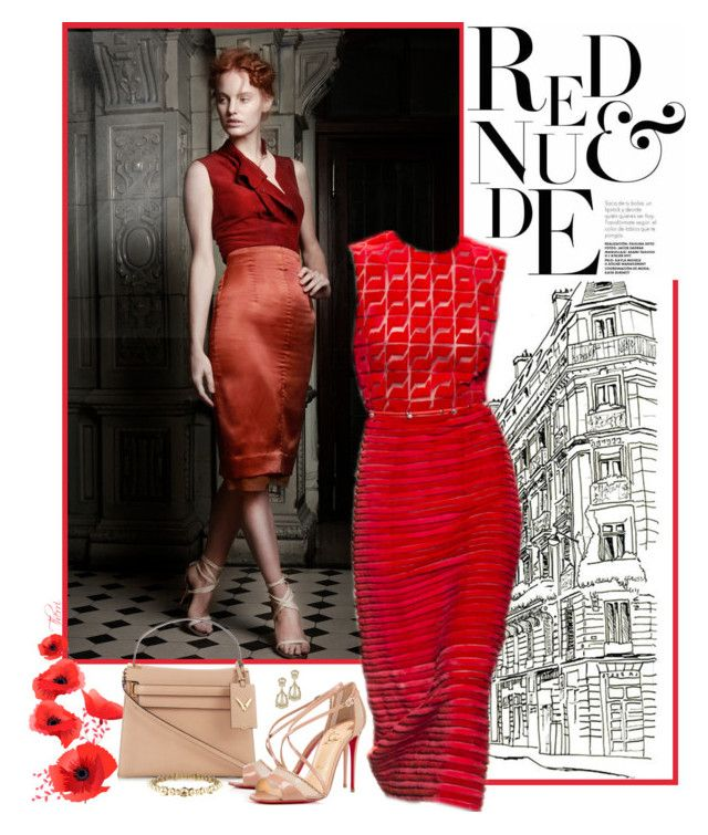 red & nude by paris-therri on Polyvore featuring polyvore, fashion, style, Felicity Brown, Christian Louboutin, Valentino, Chanel, Kenneth Jay Lane, Fendi, clothing, valentino, christianlouboutin, fendi, reddress and redandnude