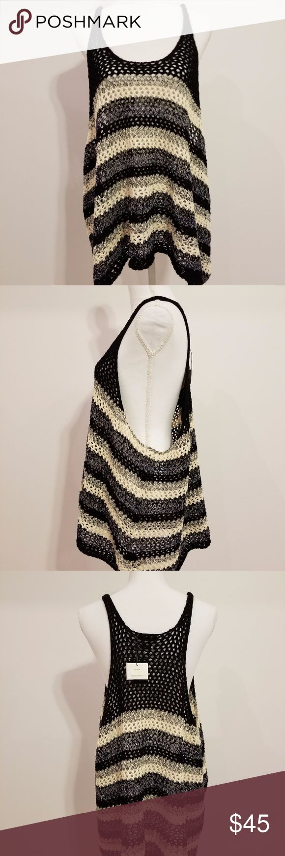 Zara sweater tank Stripe black and white sweater material tank top. Wear it under your favorite white long sleeve for a warm comfortable look this fall.  New from smoke and pet free home. Please note due to screen differences, the color may be obstructed. Measurements are approximate and when laying flat. Zara Tops
