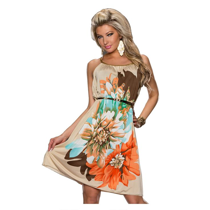 Ohyeah New Arrivals Free Shipping Summer Dress 2014 Multi Flowers Printed With Belt Casual Dress R7971