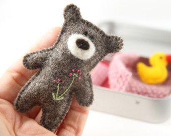 wee TEDDY DOLL in TIN house Doll Tin Felt Teddy by PETITmiracles
