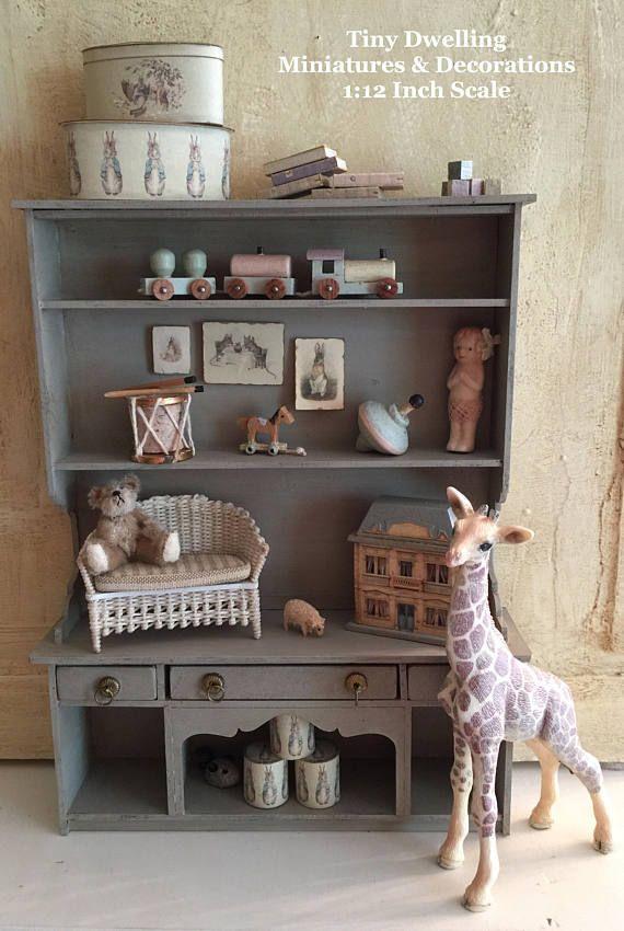 Miniature Nursery Cabinet, Toy Shelves, Dollhouse Nursery, Toy Store Room Box, Dollhouse Toy Cabinet, Dollhouse Baby Room, Miniature Toys