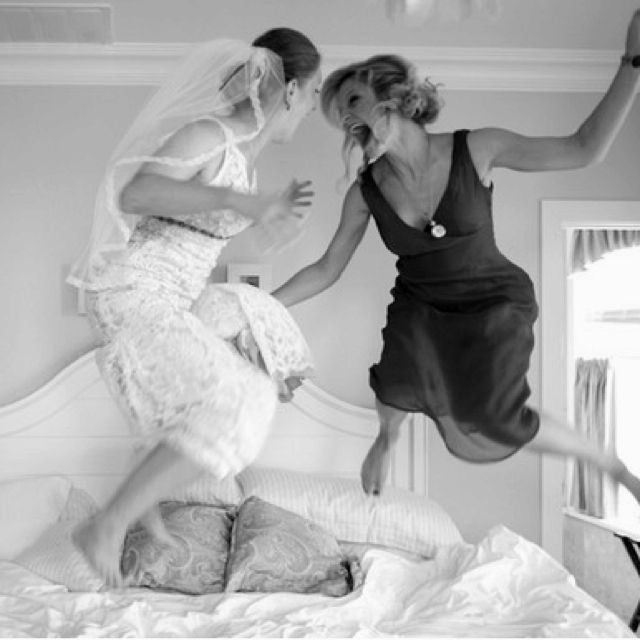 fun shot with your maid of honor...shoulda done this with my sisters! We were not in a bed jumping mood...