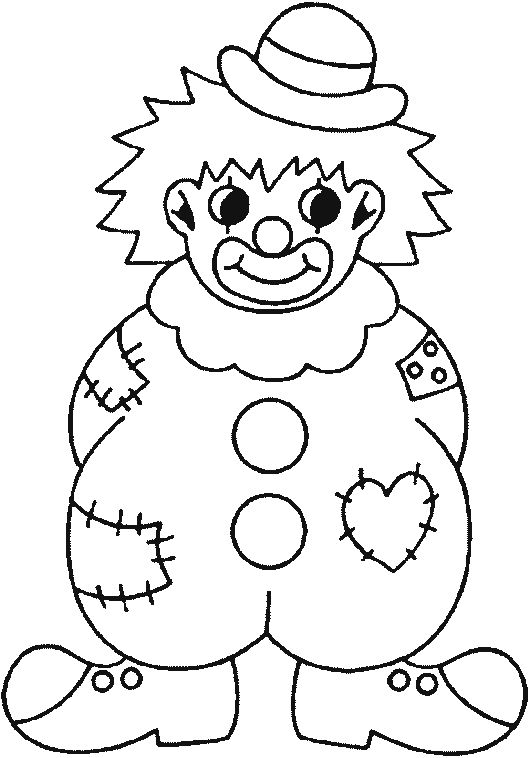 Clown Coloring Pages | Coloring picture of a badly equipped clown