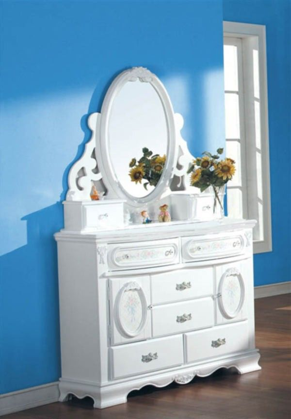 Acme Furniture - Flora White Dresser with Mirror Set - 01665-64SET