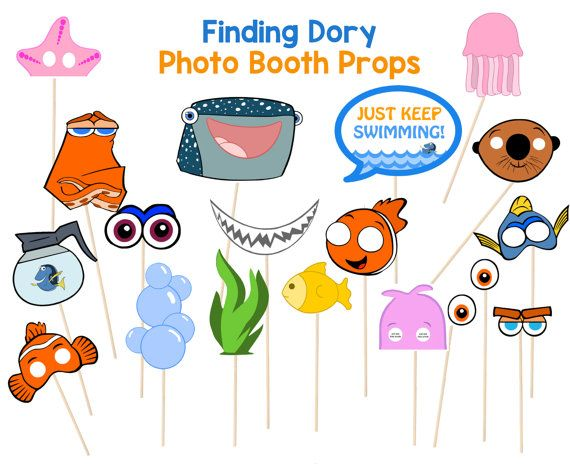 Finding Dory Party Photo Booth Props for your Finding Dory/ Finding Nemo Party. Your guests will have a blast taking pictures with these cute Dory and Nemo Props.
