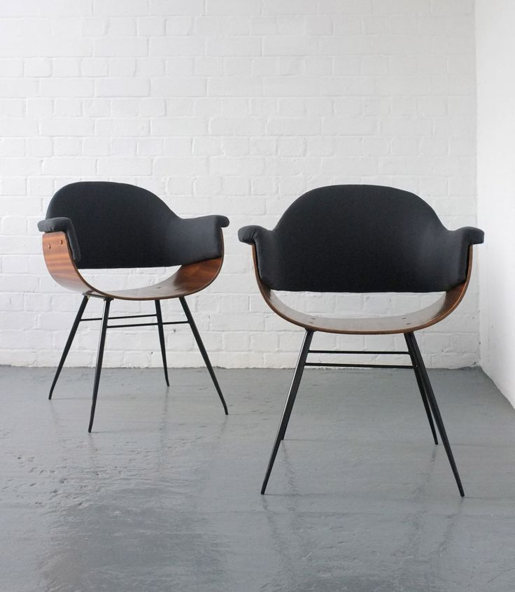 Carlo Ratti; Molded Plywood and Enameled Metal Armchairs, 1950s.