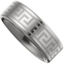 Dura Tungsten™ Lasered Greek Key Flat Band