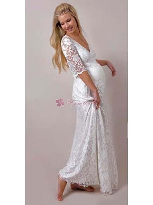 Elegant Floor Length V Neck Half Sleeve Lace Maternity Wedding Dress