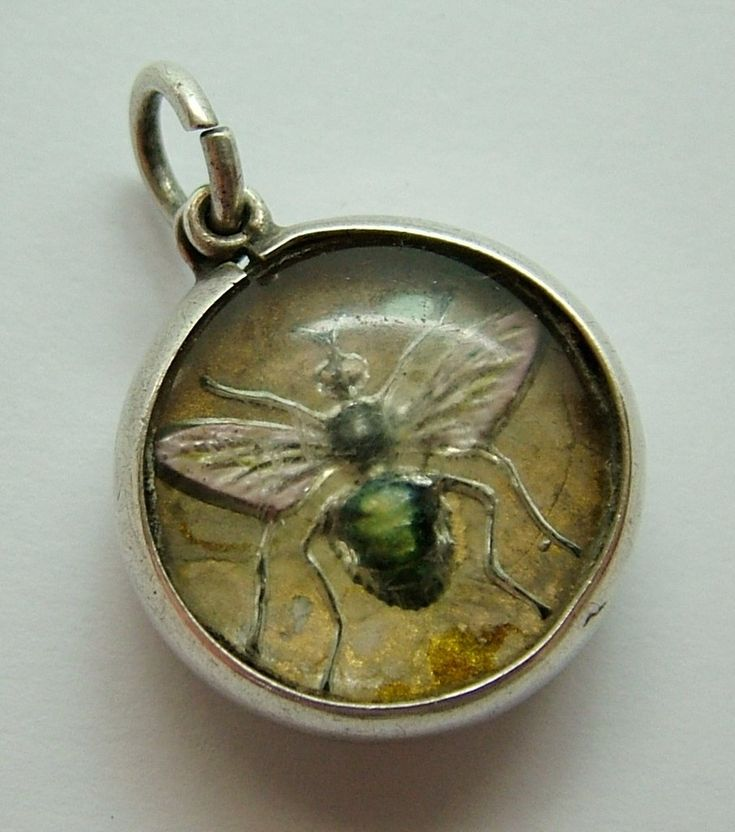 Antique Edwardian Silver Glass Intaglio Charm with Bee or Insect