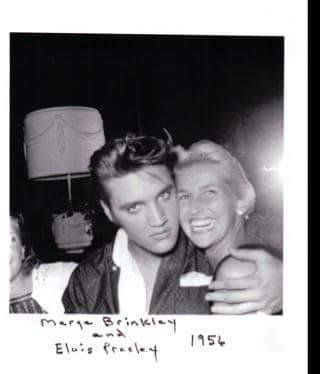 """Elvis and Marge Brinkley, mother of supermodel Christie Brinkley.  She passed away in 2012. Her husband, Don Brinkley, was a Hollywood writer and producer, so there is a possibility this would have led to Marge meeting Elvis when she was 26."" Some discussion here: http://www.elvis-collectors.com/forum/viewtopic.php?t=92135"
