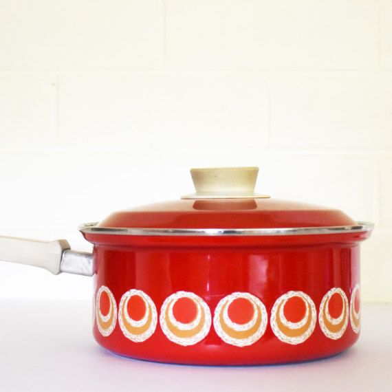 Check out this item in my Etsy shop https://www.etsy.com/au/listing/516037959/retro-70s-enamel-red-saucepan-with-lid