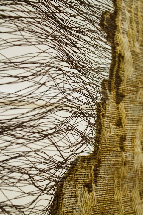"Jennifer E. Moss -- Deterioration Panel I (detail) __ Mercerized Cotton, Iron Wire, Cottolin, rusted with saltwater. 80"" x 28"" __ via http://jenniferemoss.blogspot.co.uk/"