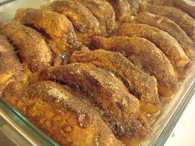Trisha Yearwood's Apple Dumplings - These are SO easy and look SO good!  Apple slices wrapped in canned biscuit dough, smothered in a simple syrup and covered in cinnamon sugar, then baked.  Gonna try these ASAP!