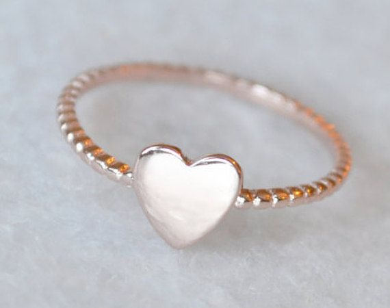 Rose Gold Heart Ring with Bead Band by ShopZYLA