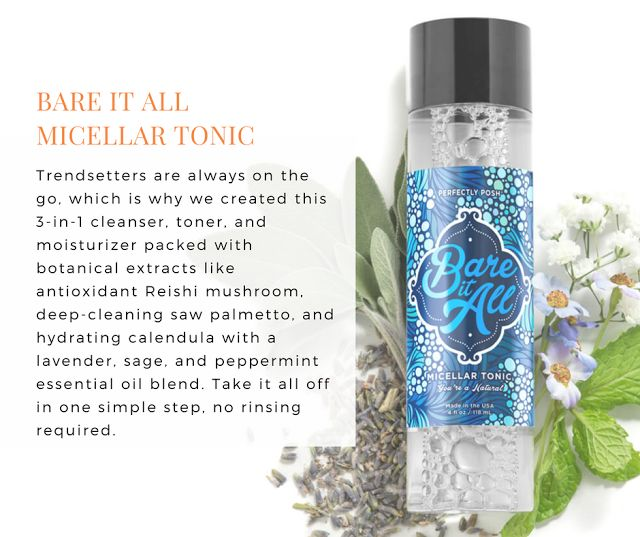 Perfectly Posh - Cleanse and tone with this no-rinse, 3-in-1 makeup remover, facial cleanser, and moisturizer with a skin-calming blend of lavender, sage, and peppermint essential oils. Reishi mushroom extract helps promote cell renewal while saw palmetto, chamomile, and calendula deep clean, so you can take it all...