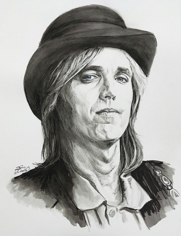 My tribute to Tom Petty. A great musician sadly gone too soon. R.I.P. Tom. Pen & ink and watercolour wash.  (c) Artwork copyright Doris Clarke.