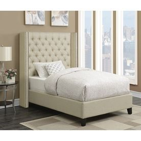 Scott Living Beige California King Size Bed Frame 300706Kw