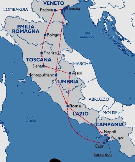 10 days/9 nights tinerary: Rome - Assisi - Siena - Florence - Bologna - Padua - Venice - Montepulciano - Naples - Pompeii - Sorrento - Capri - Rome. #traveltoitaly