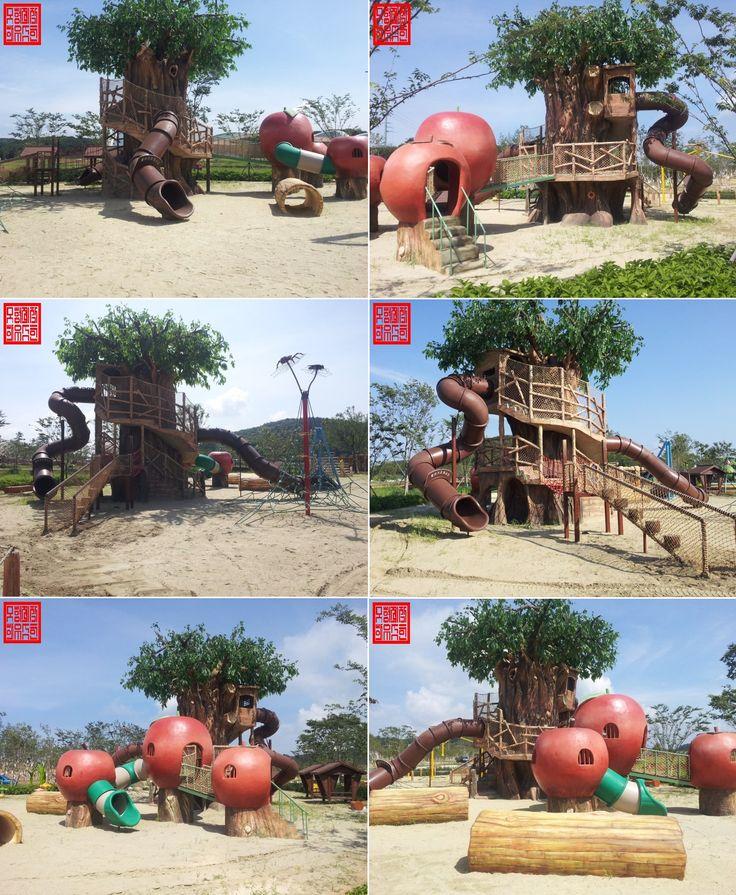 생태공원 자이언트트리 놀이대  GRC제작한 조각후 나무와 잎사귀도 직접 만들었습니다. 제작기간: 185일 (6인)