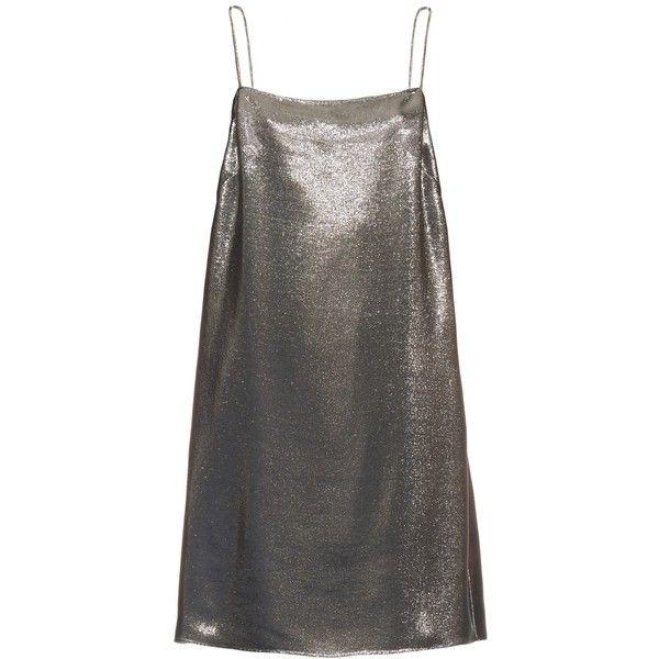 Saint Laurent Square-neck lamé cami dress (€670) ❤ liked on Polyvore featuring dresses, short dresses, vestidos, silver, lace up front dress, going out dresses, camisole dress, camisole slip dress and lace front dress
