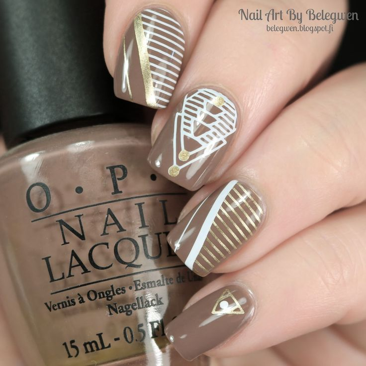 Nail Art By Belegwen: OPI Over The Taupe with gold and white stamps