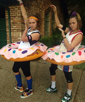 Dunkin' Donuts Costume  You Will Need: Inflatable donut, basketball jersey, sneakers, athletic wristbands