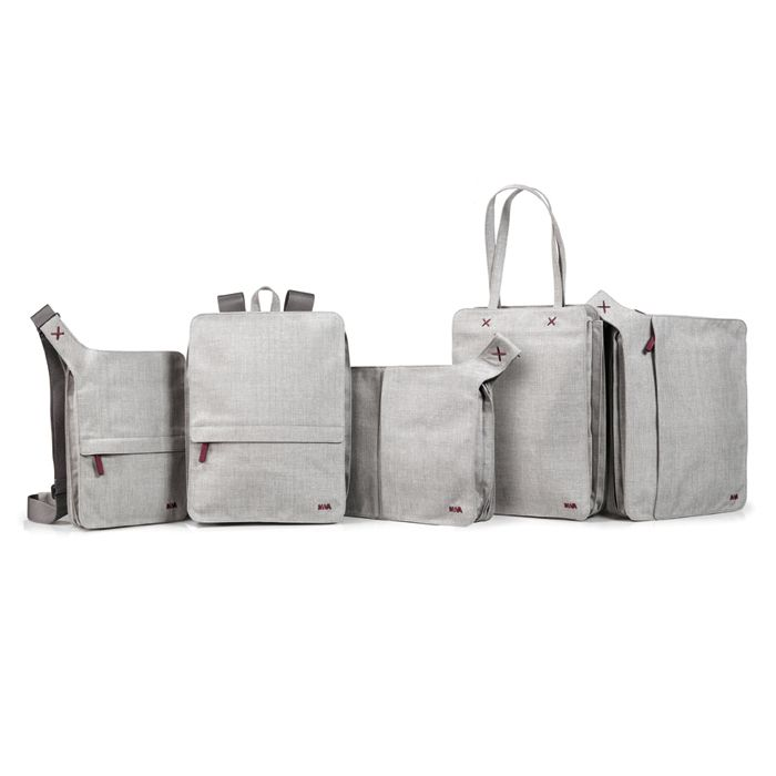 Bellows bags by Benjamin Hubert for Nava - tablet/iPad messenger bags/backpacks - Understated, sophisticated styling with a pragmatic approach, smooth-flowing joints and soft geometric shapes. Device slips snugly into padded pocket. Poly-woven material.