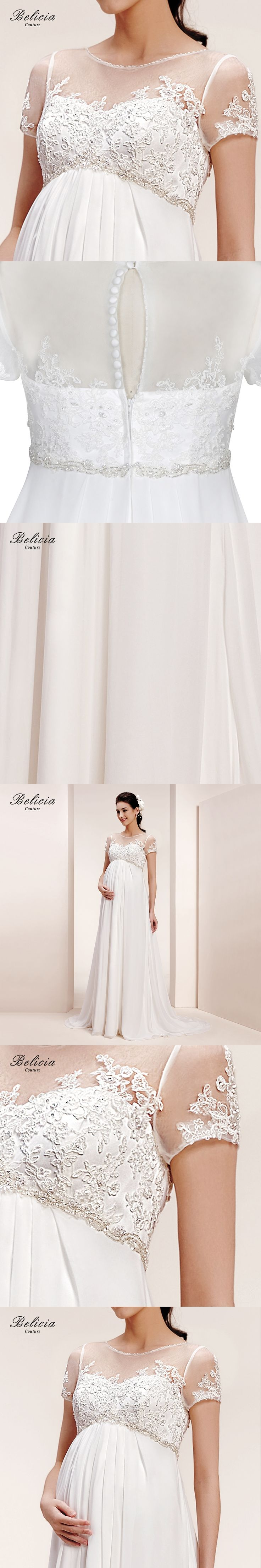 Belicia Couture Maternity Wedding Dress Lace Appliques Short Sleeves Tulle Bridal Gown for Pregnant Women  A-Line Button Back
